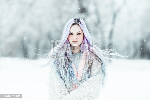 Beautiful young woman with colorful dyed hair