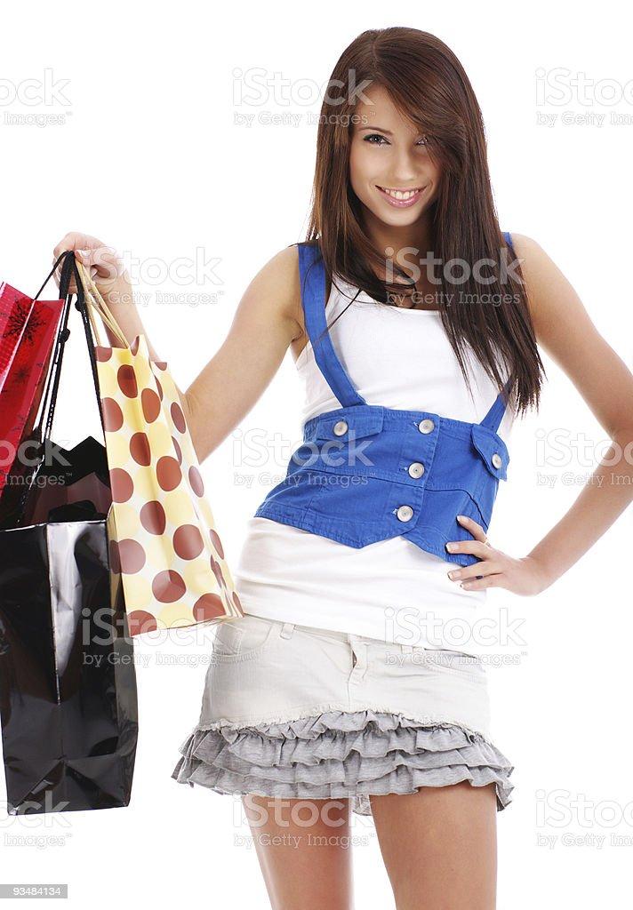 아름다운 젊은 여자의 색상화 장보기를 수하물, - 로열티 프리 가방 스톡 사진