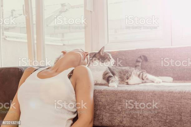 Beautiful young woman with cute cat resting at home pets comfort rest picture id872213210?b=1&k=6&m=872213210&s=612x612&h=jkxc8ipukgcwsxzhmwlzaddnid5akjqrxgvld901n1q=
