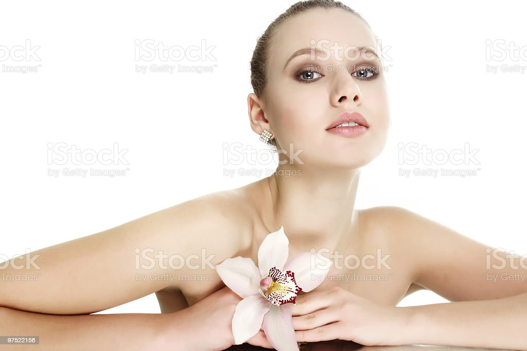 beautiful young woman with flower posing over white royalty-free stock photo