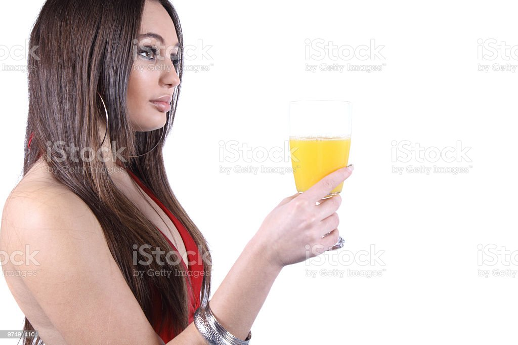 Beautiful young woman with glass of juice royalty-free stock photo