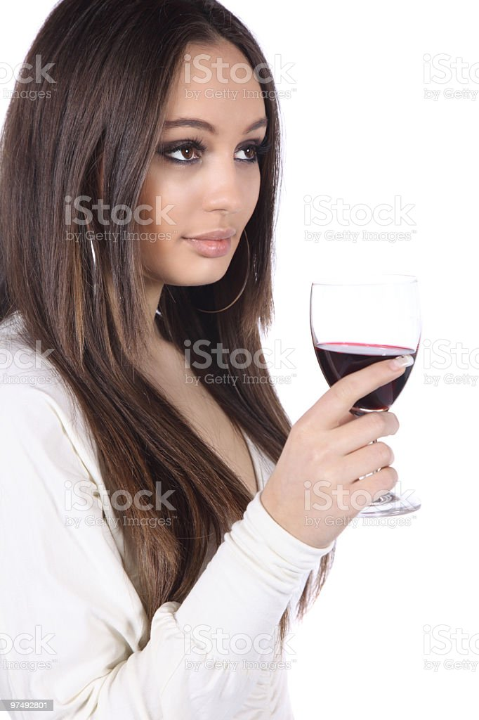 Beautiful young woman with glass of wine royalty-free stock photo