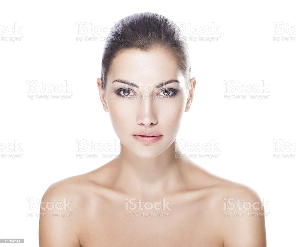 beautiful young woman with healthy face stock photo