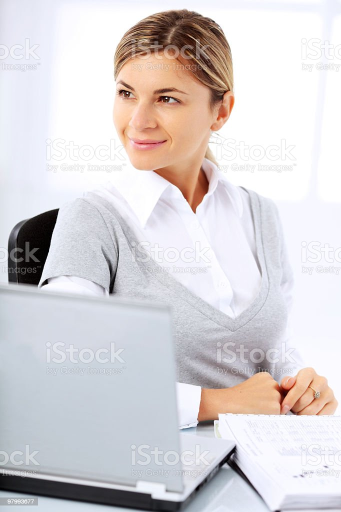 Beautiful young woman with laptop computer. royalty-free stock photo
