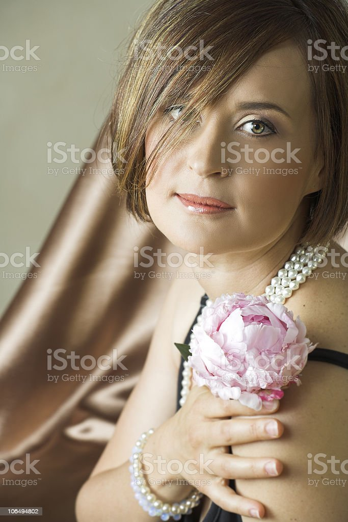Beautiful young woman with natural make-up royalty-free stock photo