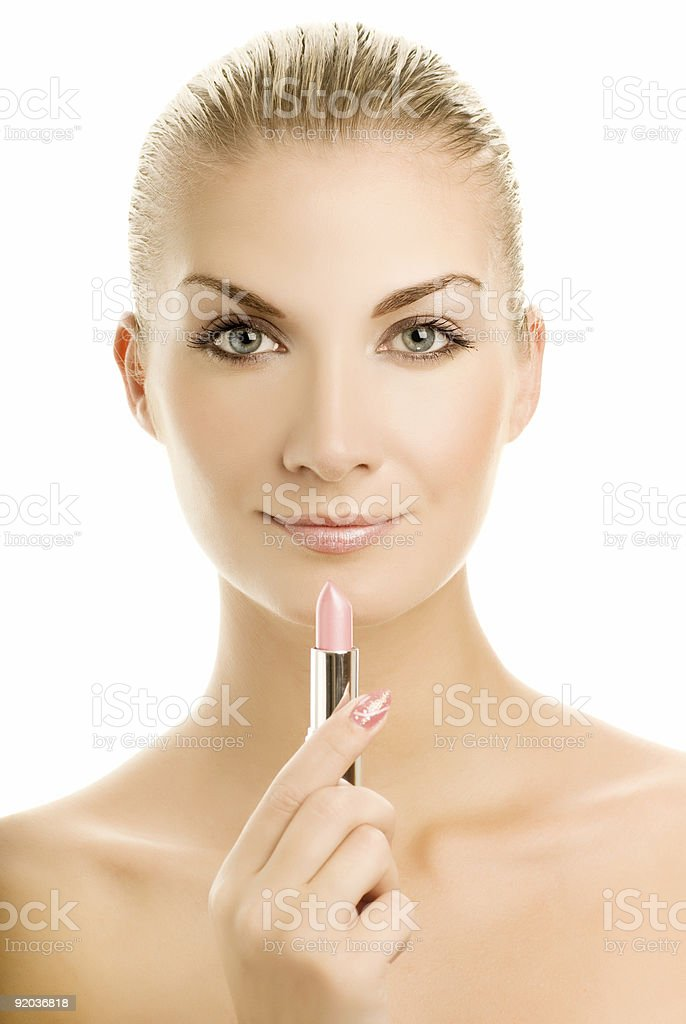Beautiful young woman with pink lipstick royalty-free stock photo