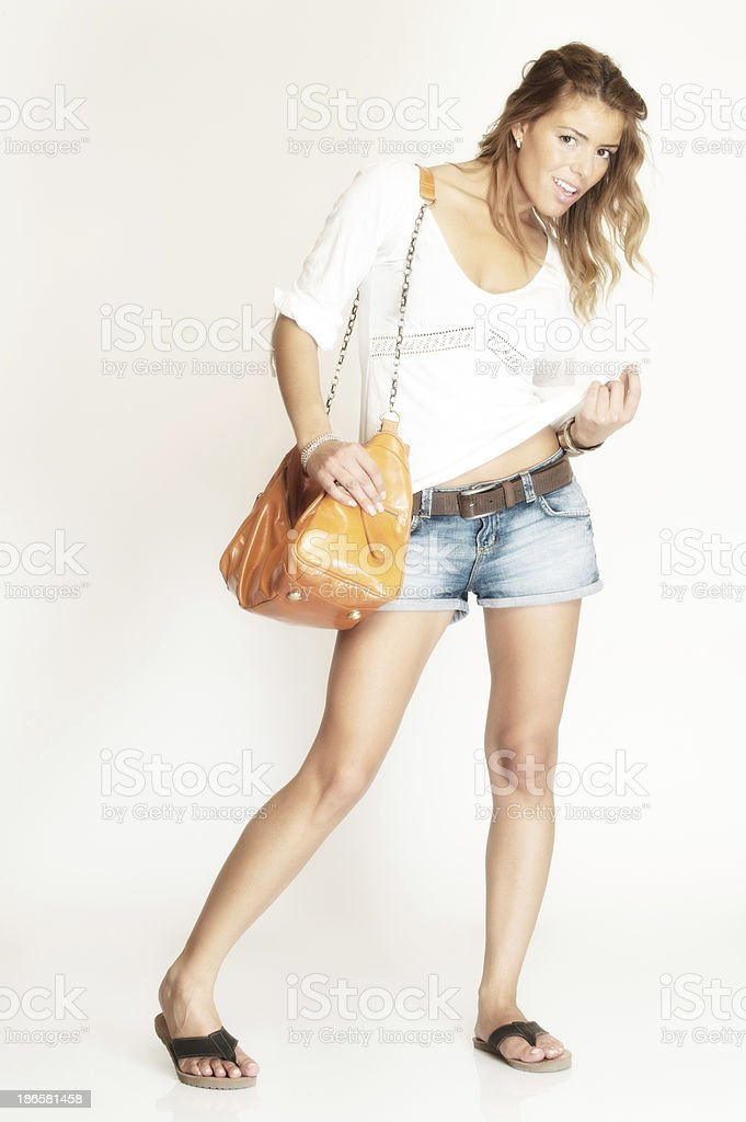 Beautiful Young Woman with Satchel Bag royalty-free stock photo