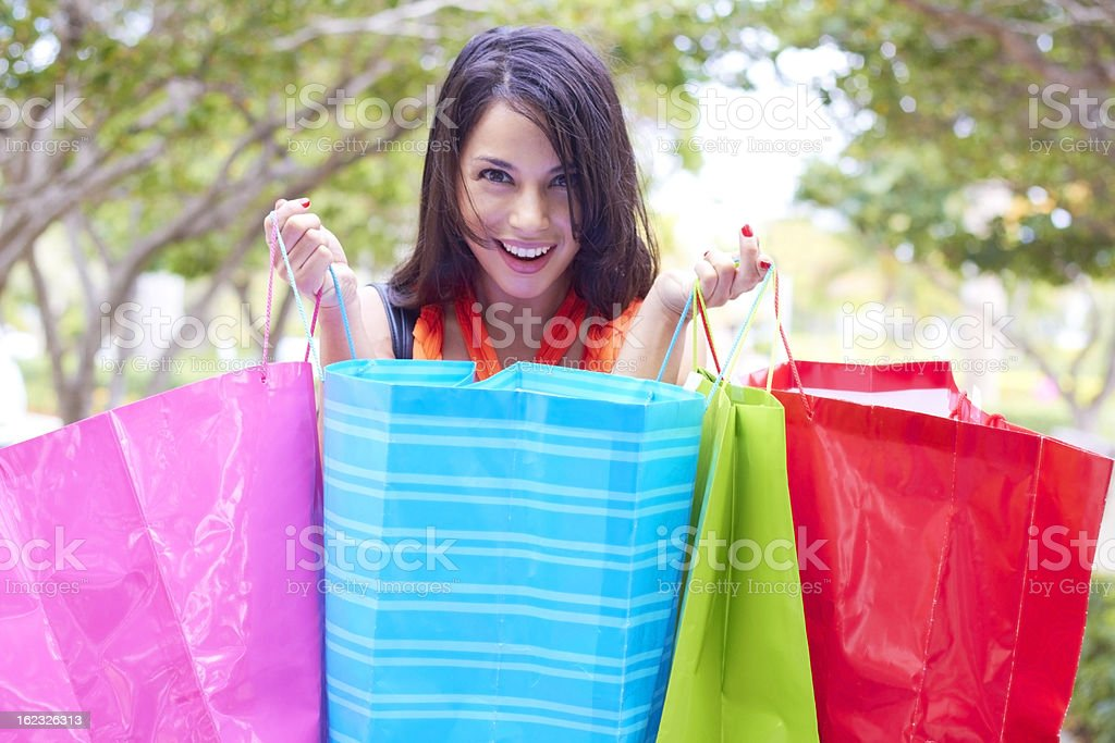 Beautiful Young Woman With Shopping Bags royalty-free stock photo