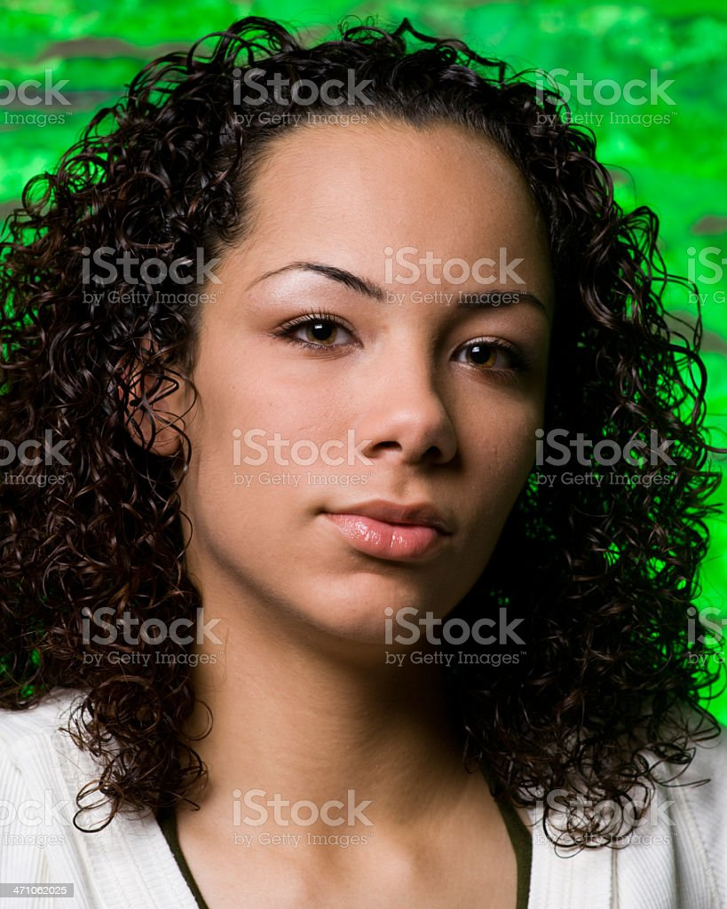 Beautiful Young Woman with Tech Green Background royalty-free stock photo