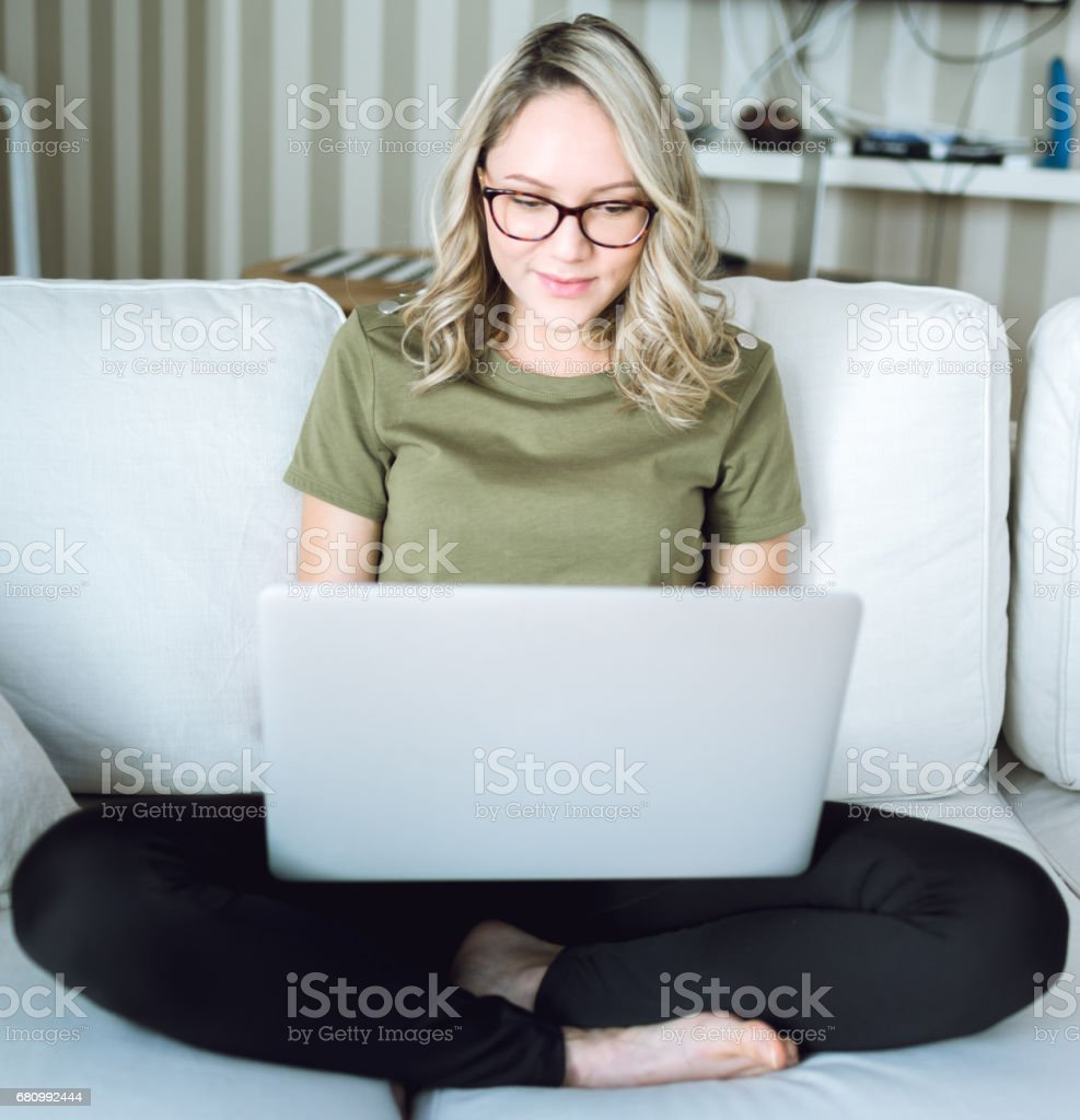 Beautiful young woman working with laptop royalty-free stock photo