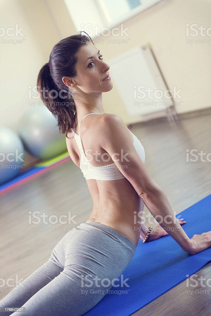 Beautiful young woman yoga workout royalty-free stock photo