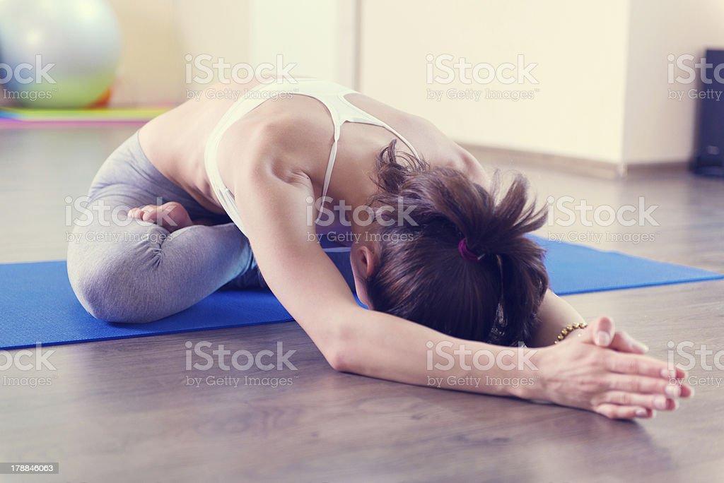Beautiful young woman yoga workout stock photo