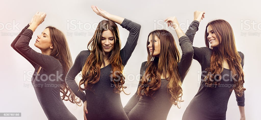 Beautiful young women dancing stock photo