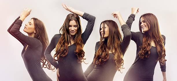 Beautiful young women dancing stock photo