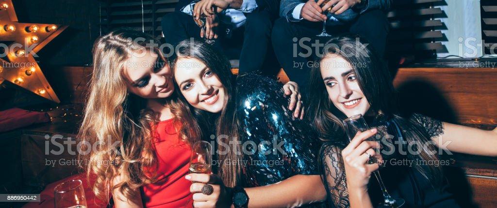 4143adc60ff Beautiful Young Women Enjoying Party And Having Fun At Night Club ...