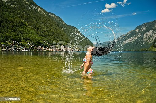 istock Beautiful young women having fun in the lake 155360953