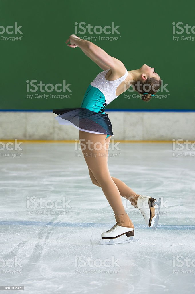 Beautiful young women performing pirouette stock photo