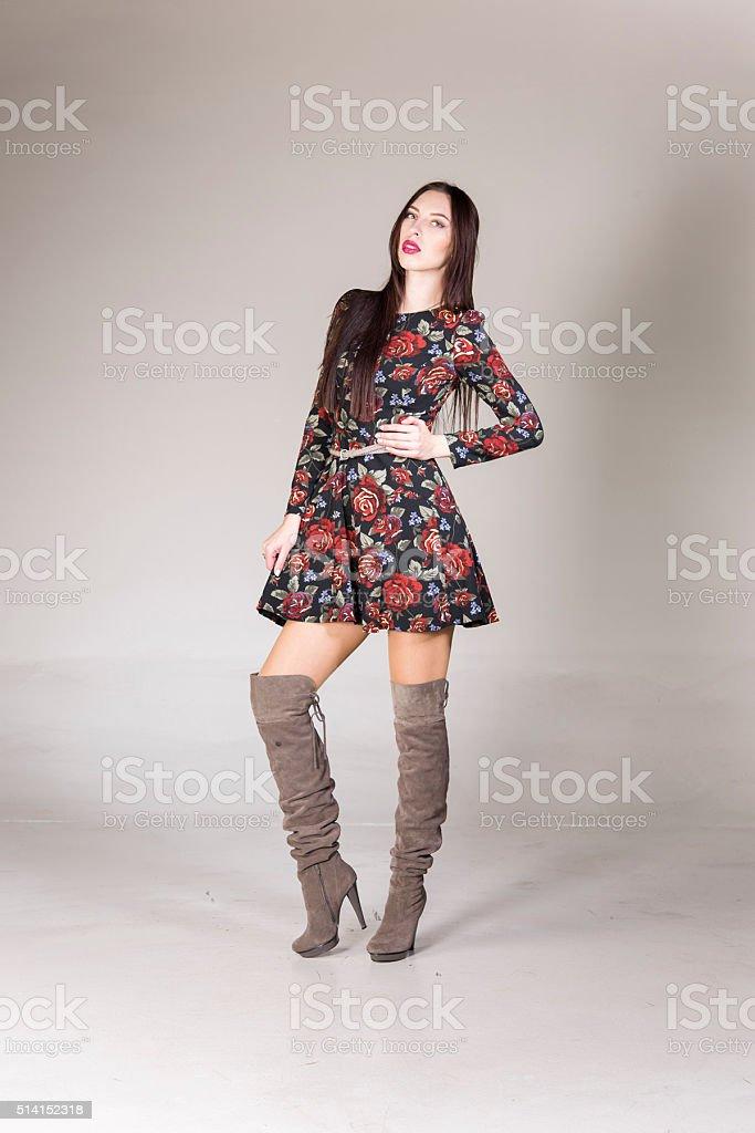 beautiful young women posing in studio stock photo