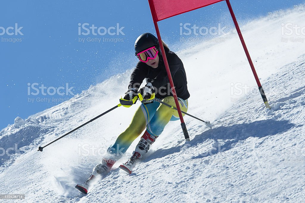 Beautiful Young Women Practicing Giant Slalom royalty-free stock photo