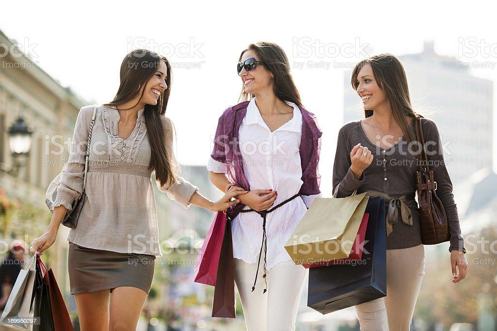 Beautiful young women shopping. royalty-free stock photo