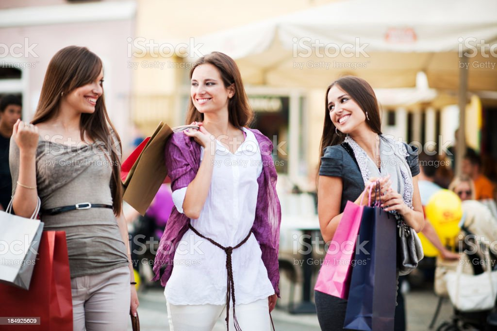 Beautiful young women shopping. royalty-free stock photo