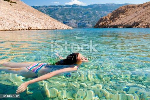 istock Beautiful young women swimming 184369912