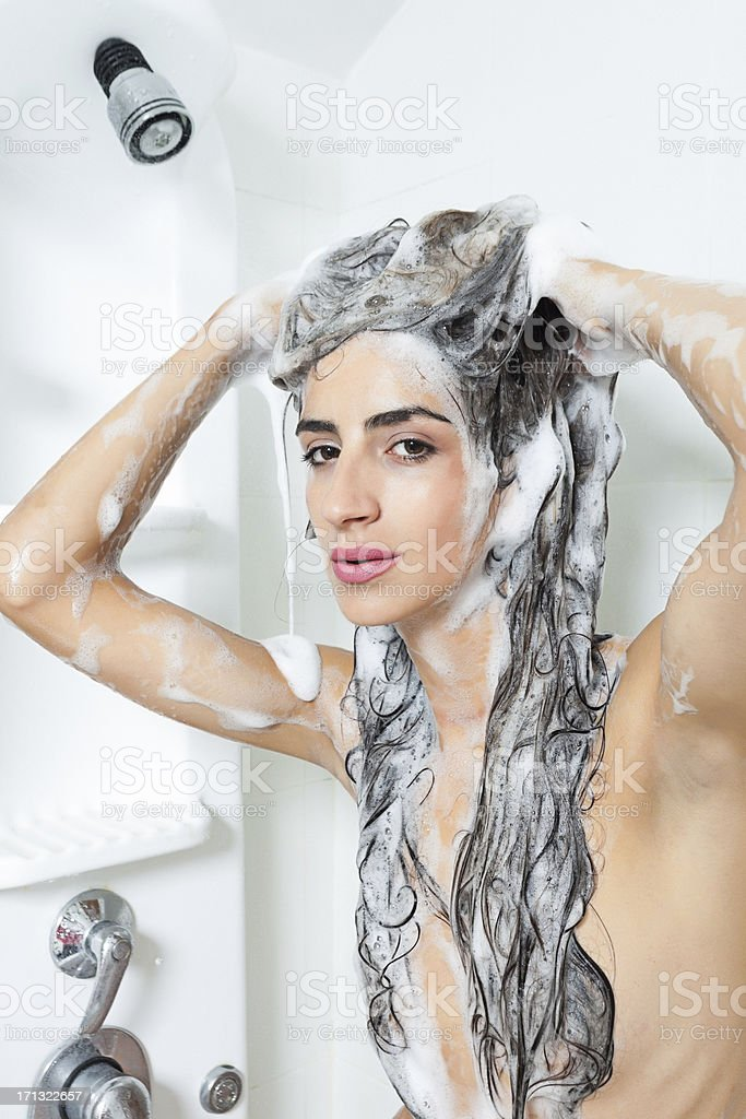 Beautiful Young Women Washing Her Har royalty-free stock photo