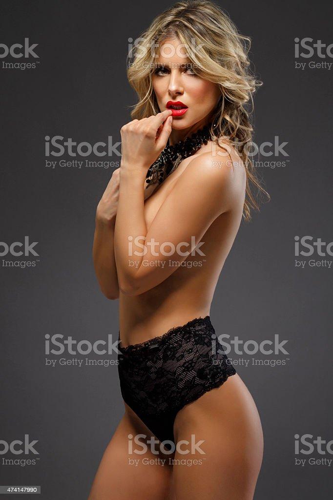 Beautiful Young Women  Wearing black sexy lingerie stock photo