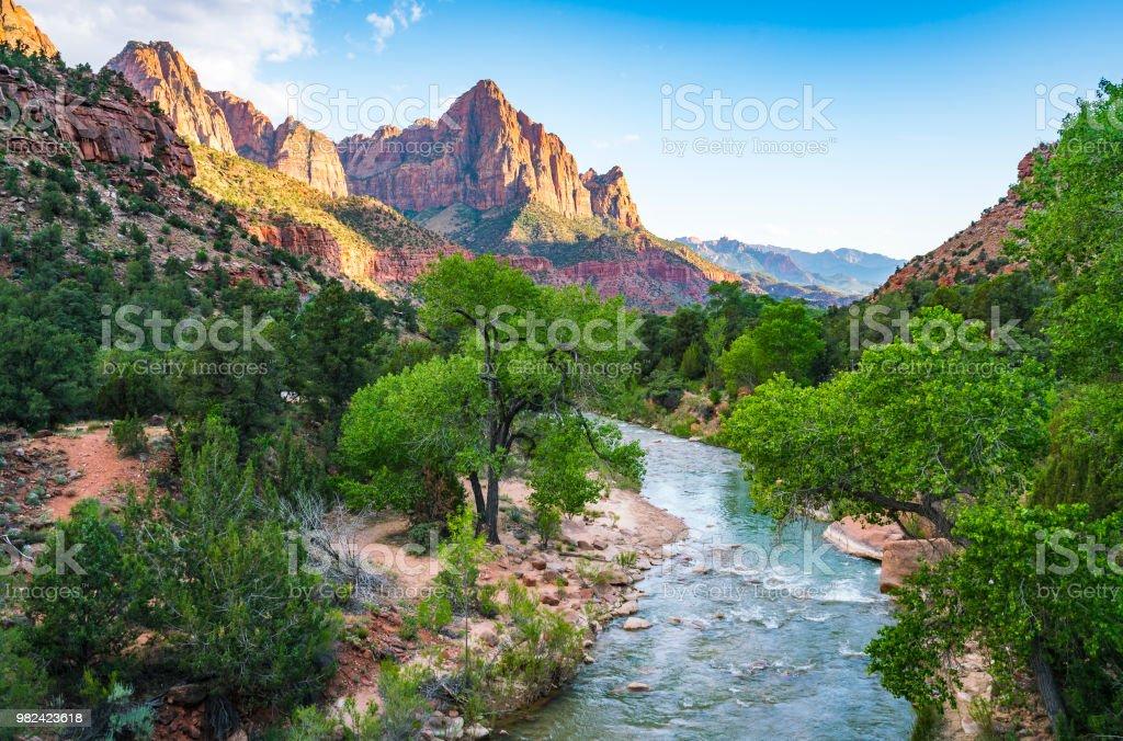beautiful Zion national park on sunny day,utah,usa. royalty-free stock photo