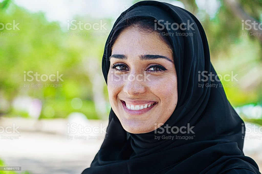 Beautifule Arab business woman in smiling portrait outdoor stock photo