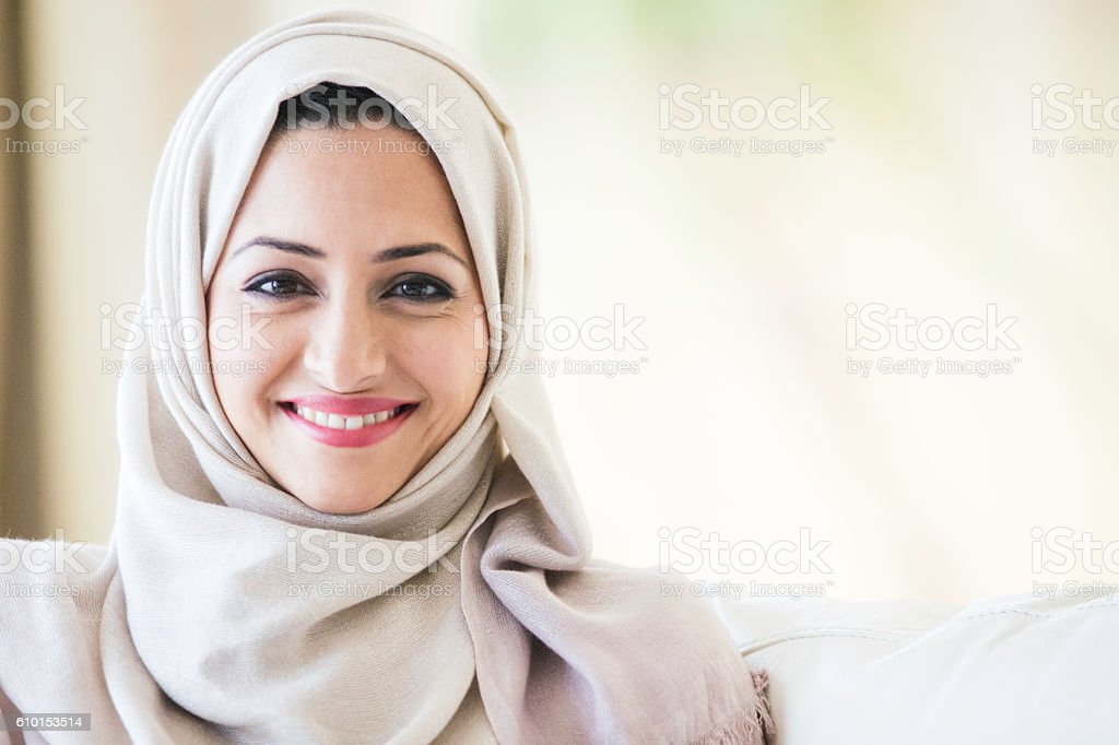 Beautifule middle eastern woman in Hijab. stock photo