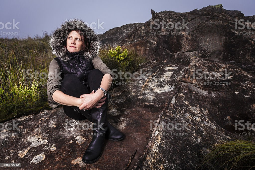 Beautifull brunette on cliff royalty-free stock photo