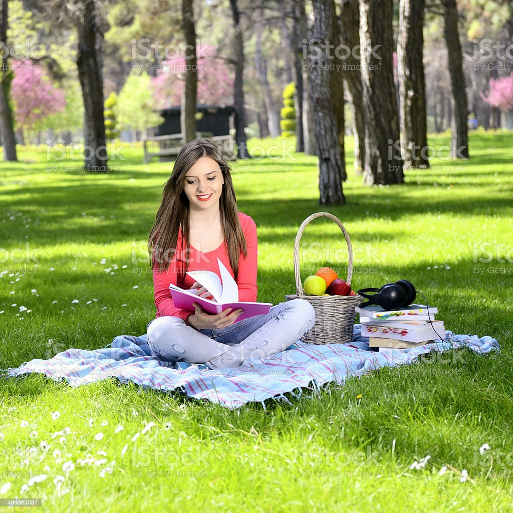 Beautifull college student in campus royalty-free stock photo