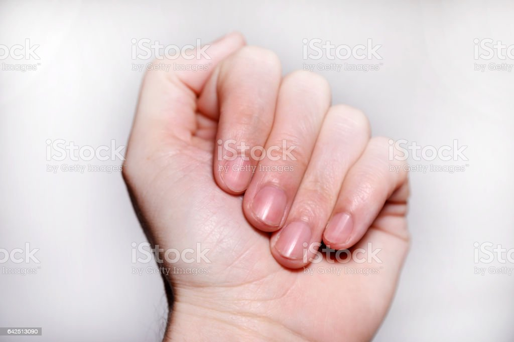 beautifull man finger nail stock photo