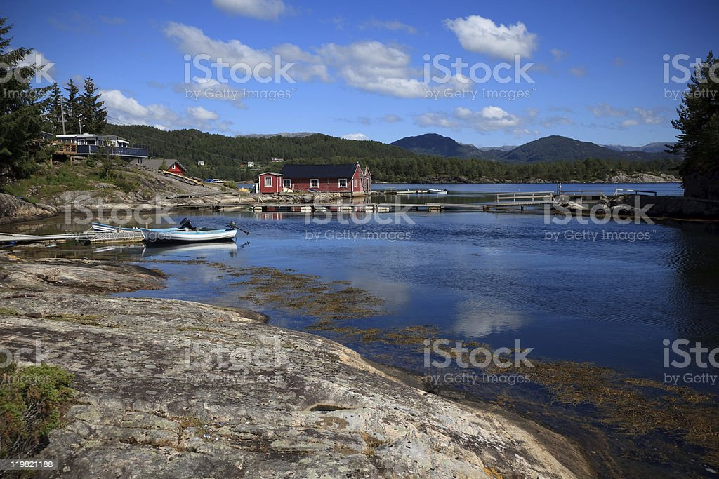 Beautifull Norway, bay  with boats and pier royalty-free stock photo