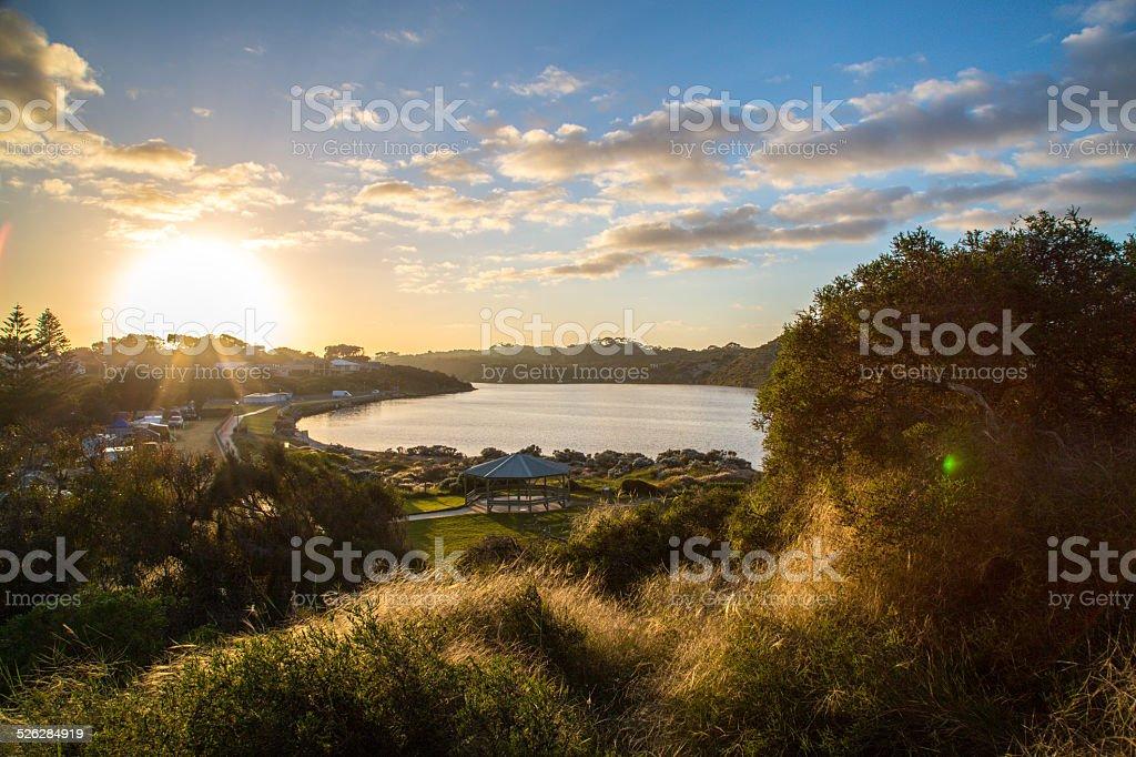 beautifull sunset in australia stock photo