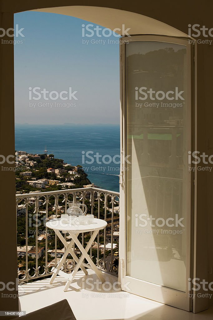 Beautifull view from balcony at Capri island stock photo