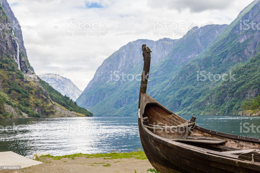 Beautifull view of Viking drakkar at the end of the Sognefjord between Flam and Gudvangen in Norway. stock photo