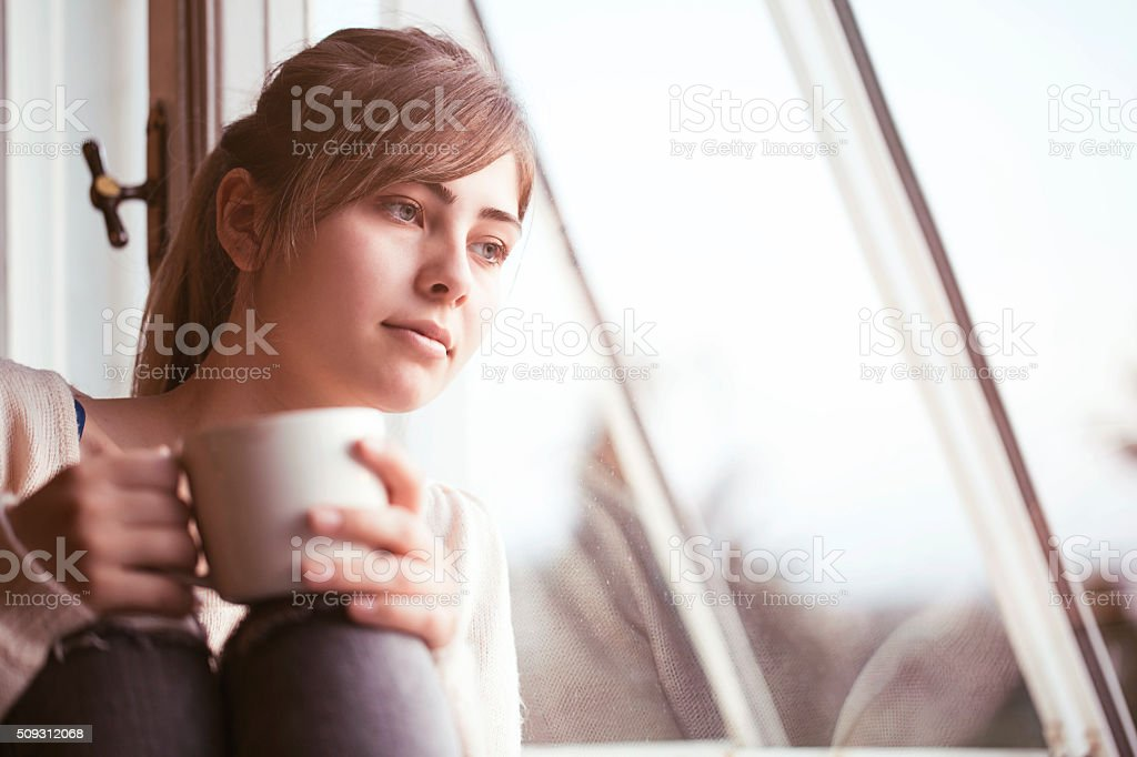 Beautifull woman drinking tea stock photo