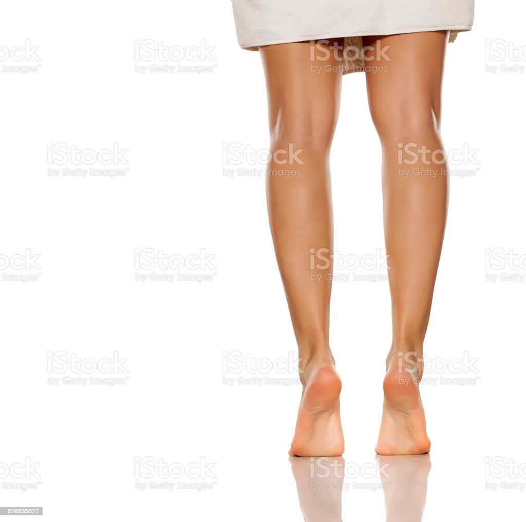 Beautifully Cared Womens Legs And Feet On White Background Stock ...