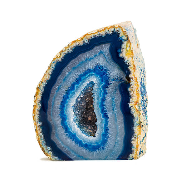 Beautifully colored blue agate geode stock photo