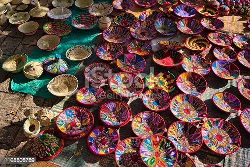 istock Beautifully colored plates and bowls at the street market in Aksum, Ethiopia 1168808789