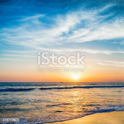 Beautifully colored sunset over pacific ocean, photographed at Santa monica beach, LA USA.