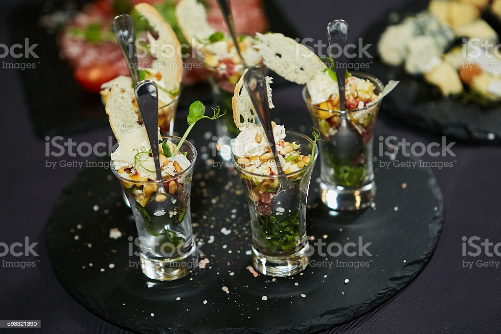 Beautifully decorated catering banquet table stock photo