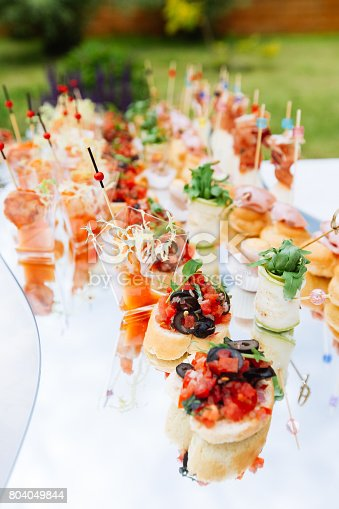 istock Beautifully decorated catering banquet table with different food snacks and appetizers 804049844