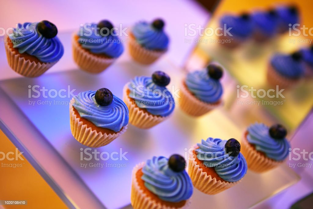Beautifully decorated catering banquet table with different food stock photo