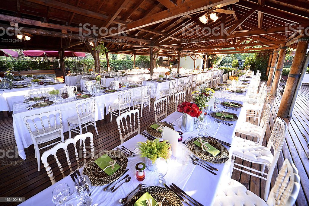 Beautifully decorated patio for a fancy dinner party stock photo