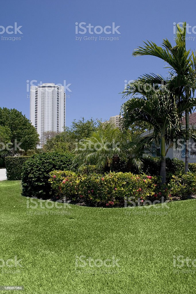 Beautifully Landscaped Home with Condominium in Distance royalty-free stock photo