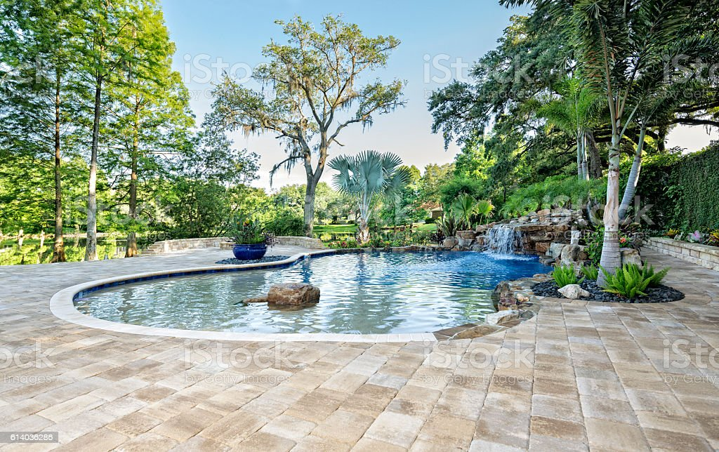 Beautifully Landscaped Swimming Pool With Waterfall At ...