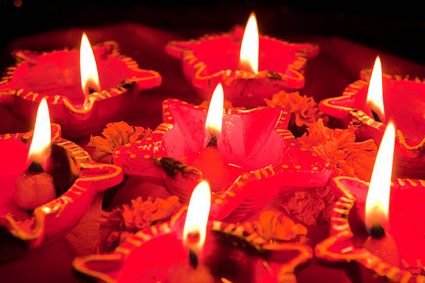 Beautifully Lit Lamps for the Hindu Diwali festival stock photo